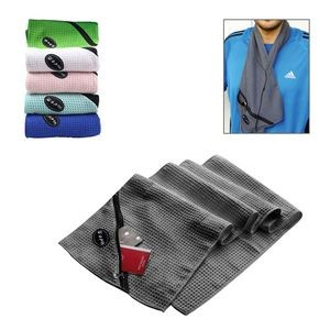 Sport Towel With Zipper Pocket