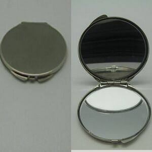 Silver Plated Round Compact Mirror (Screen printed)
