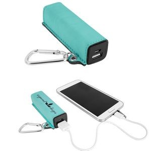 2200 mAh Leatherette Power Bank with USB cord
