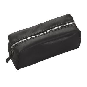 Faux Leather Zippered Ammenity Bag