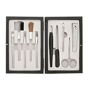 10 pieces Manicure & Makeup Set in Wooden Case